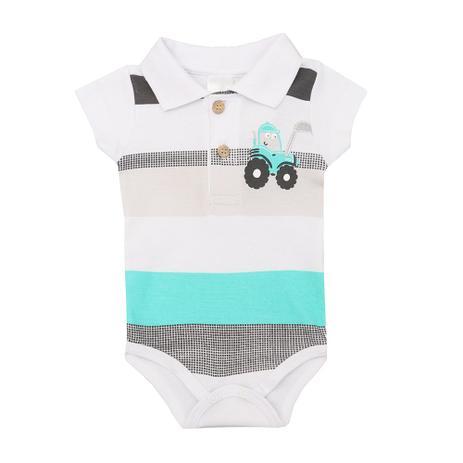 6421136042f3 Body Polo Masculino Bebê Manga Curta Listrado - Meia de leite - Moda ...