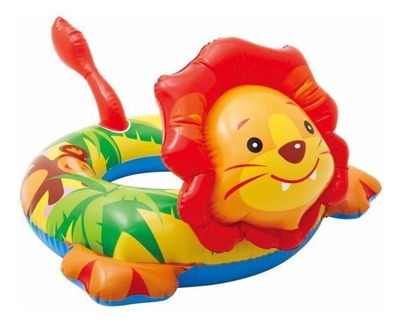 Imagem de Boia infantil Inflável para praia piscina Cabeça Zoo Leão Intex 76cmX66cm 58221