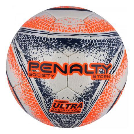 fc399d9544 Bola de Futebol Society Storm Ultra Resistente C C VII -  Branca Laranja Azul - Penalty -