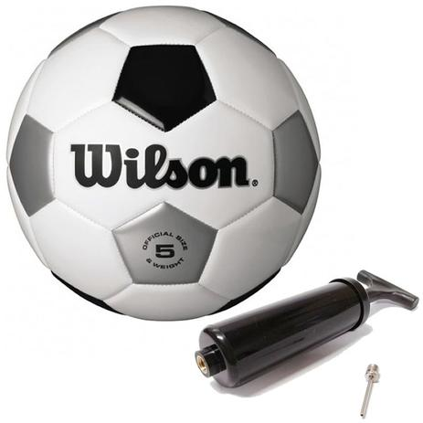 f6fd87a16 Bola de Futebol Tradicional N5 Branco Prata Preta Wilson - Bolas ...