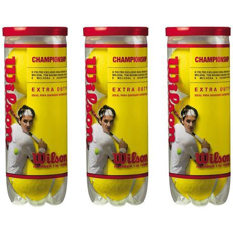 b8d7a1c31 Bola De Tenis Wilson Championship - Pack 09 Bolas - 03 Tubos ...