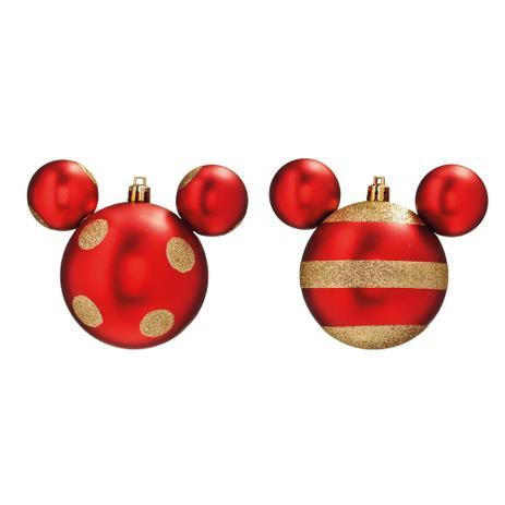 Imagem de Bola Enfeite Árvore Natal Mickey 8cm 4peça Vermelho e Ouro