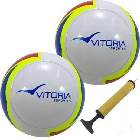 Bola Futsal Vitória Oficial 1000 Pu 2 Unidades + Bomba - Vitoria esportes b99435a215345