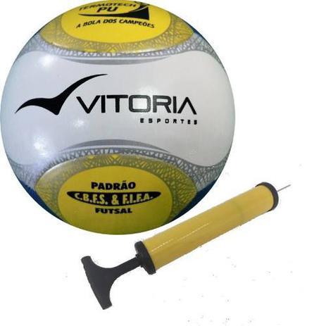 Bola Futsal Vitória Oficial Termotec Pu + Bomba De Ar - Vitoria esportes bc264ea78f9a1