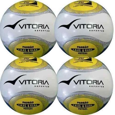 Bola Futsal Vitória Oficial Termotech Pu Kit Com 4 Unidades - Vitoria  esportes ced752da24990
