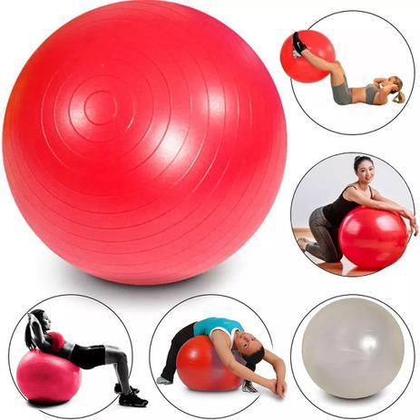 Imagem de Bola Inflavel Fitness Pilates 65cm Vermelha Branca Academia