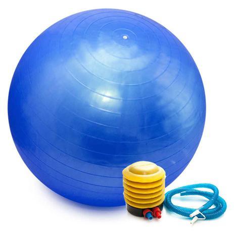 Imagem de Bola Pilates Yoga Abdominal Ginástica Fitness 65 cm C/ Bomba AZUL