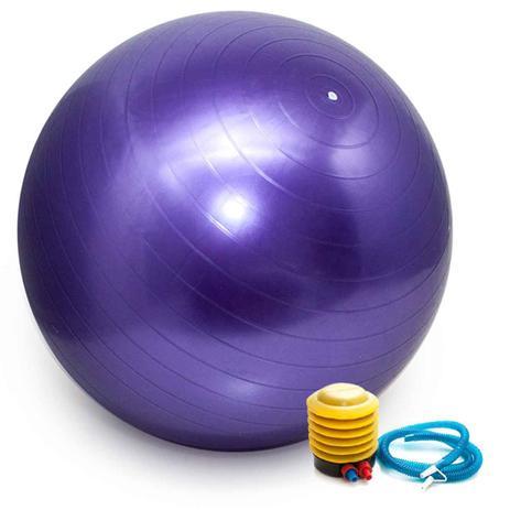 Imagem de Bola Pilates Yoga Abdominal Ginástica Fitness 65 cm C/ Bomba ROXO