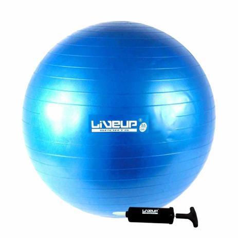 Imagem de Bola Suica Premium 65 Cm C/ Bomba Liveup Yoga Pilates Fitness - Azul