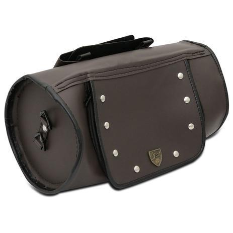 4d9497c07 Bolsa alforge Traseiro 26 Litros Custom Roll Bag Moto Universal Couro  Ecológico Marrom com Cravos - J.a