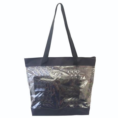 ec606578b Bolsa feminina de praia estilo sacola transparente com necessaires Preta - Meu  tio que fez