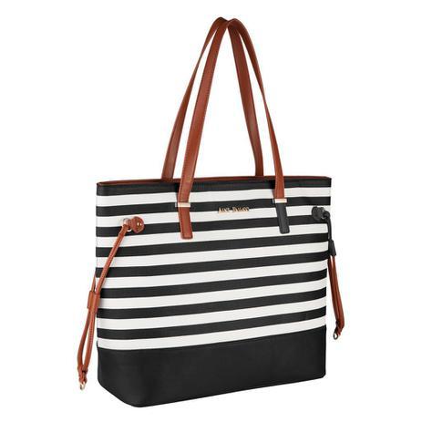 b2926b6a8 Bolsa Feminina Preta Tote Bag Alice Palucci Listrada Grande Alça Ombro Alta  Qualidade AL1904 - Semax