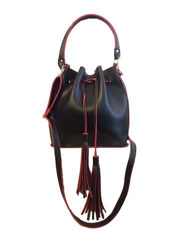 e53ecbaf8 Bolsa feminina saco transversal de ombro preta e vermelha Preta e Vermelha  - Meu tio que fez