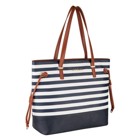 939df4725 Bolsa Feminina Tote Bag Alice Palucci Listrada Azul Grande Alça Ombro Alta  Qualidade AL1904 - Semax