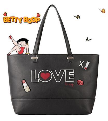 5254262bb Bolsa Feminina Tote Bag Grande Preta Love Betty Boop Original Semax ...
