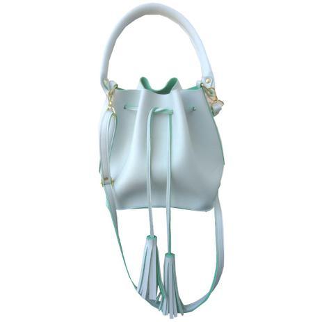 d7fccc0bb Bolsa Feminina transversal tiracolo saco branca e verde - Meu tio que fez
