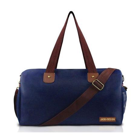 bb7296f5f Bolsa mala de viagem e academia prática masculina com alça ajustável e  bolsinho jacki design azul ma