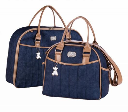 b256b04be Bolsa maternidade Jeans 090 kit 02 peças mala + frasqueira - Momole ...