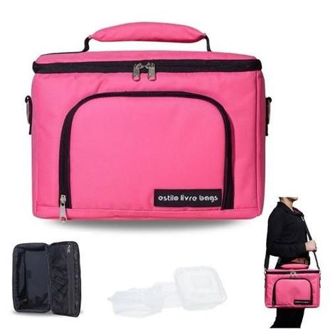 4c48ec7c6 Bolsa Térmica Bag Média Academia Fitness Lanche 3 Refeições Rosa - ELB -  Estilo livre bags