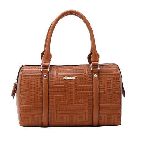 Bolsa Texturizada Asteca com Alça de Mão Caramelo - Queens Paris ... 1a9d8db3cae