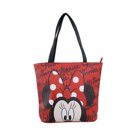 Bolsa Tote Vermelha Assinatura Rosto Minnie Disney Drina