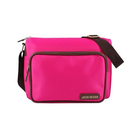 7a67c0637 Bolsa transversal lisa com alça ajustável bolso interno e externo jacki  design pink