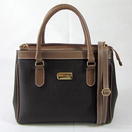5ca6e8077 Bolsa transversal/tiracolo em couro natural preta com marrom maria adna