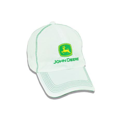 Bone Bordado Branco e Verde John Deere - Boné e Chapéu de Pesca ... 729cb5bc293