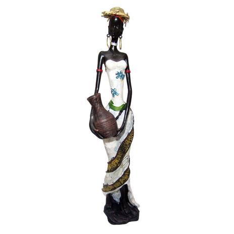 4ee57c2cad Boneca Africana Resina Mesa Vestido Branco (8047) - Braslu - Bonecas ...