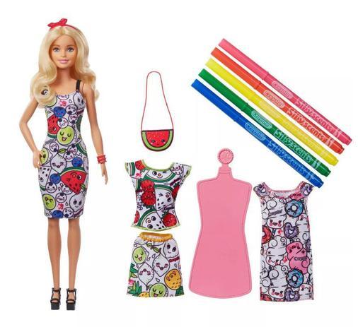 Boneca Barbie Crayola Roupas Para Colorir Mattel Boneca