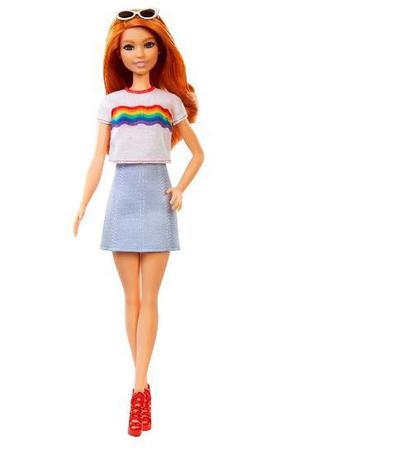 Imagem de Boneca Barbie Fashionista Ruiva Camiseta Arco Iris Mattel