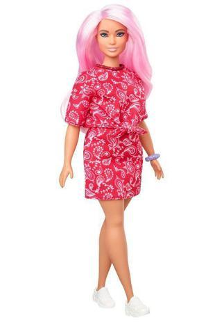 Imagem de Boneca Barbie Fashionistas - 151 Cabelo Rosa Blusa e Saia Vermelha Estampada