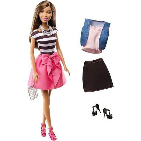 Imagem de Boneca Barbie Negra Morena Roupa Conjunto Sapato Bolsa Top