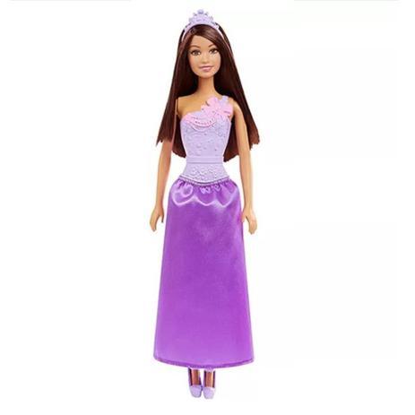 ffb44455fa Boneca Barbie Princesa Básica Morena Vestido Roxo DMM08 - Mattel ...