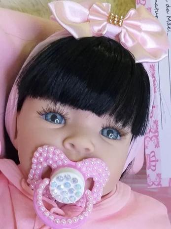 Imagem de Boneca Bebe Reborn Morena + Enxoval 14 Itens Menina Barata Lol