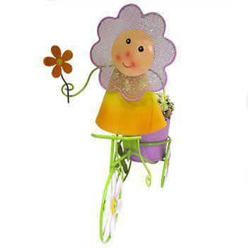 Imagem de Boneca de Flor com Bicicleta Para Enfeite e Decoraçao Jardim e Flores Vaso Lilas (BON-P-11)