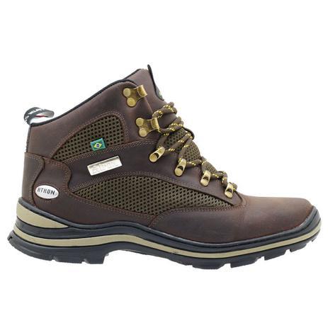 d7bc6a1acb Bota Coturno Adventure Atron Masculino Couro - Marrom - Atron shoes ...