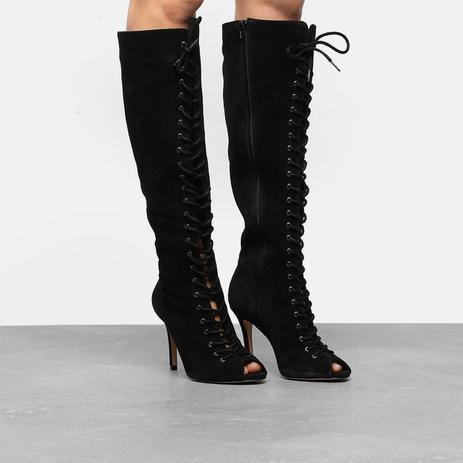 8f03638f4 Bota Couro Cano Longo Shoestock Aberta Lace Up Feminina - Bota ...