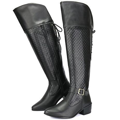 9b364d172ca Bota Feminina Over The Knee Preta Metalasse Linha Outono Inverno -  Sapatofran