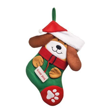 Bota Natalina Decorativa Desenho De Cachorro Colorida 35cm