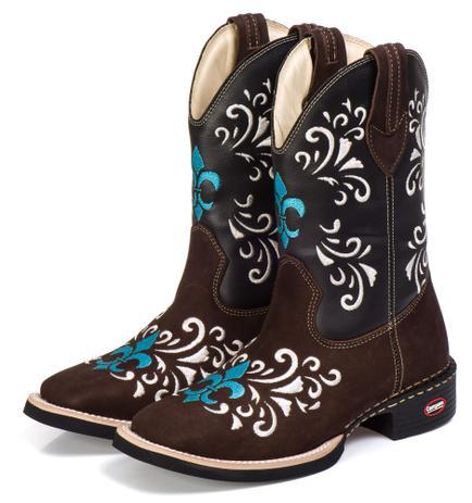 2888420c18 Bota Texana Country Feminina Couro Cano Longo Bico Quadrado - Campero
