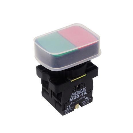 Imagem de Botão Duplo Pulsador 22mm 1NA+1NF P20APL-1C com Capa Protetora Metaltex