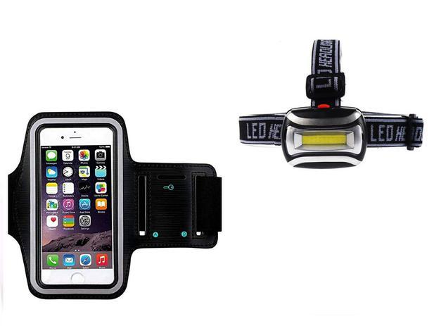 Imagem de Braçadeira Porta Celular Universal Ate 6 Polegadas + Lanterna Para Cabeça Trilha Bike Aventura
