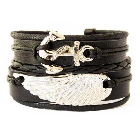 a91224b50b Bracelete de Couro Âncora e Asa Preto - Youser acessórios ...
