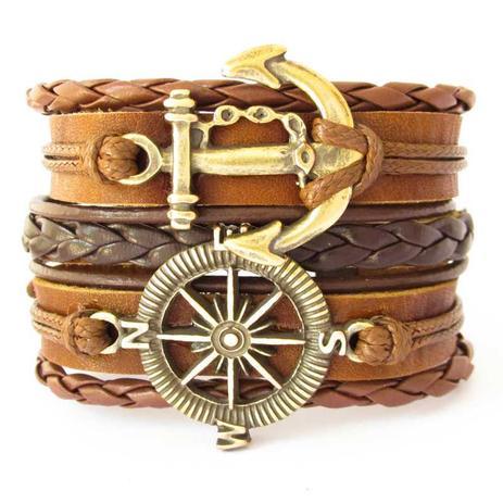 593f90ebc61 Bracelete de Couro Masculino Pingente Âncora e Rosa dos Ventos Ajustável  Marrom - Youser acessórios