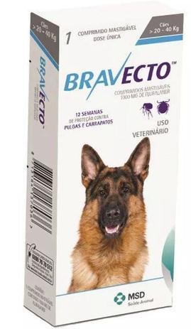 Imagem de Bravecto Anti Pulgas e Carrapatos para Cães de 20 a 40kg