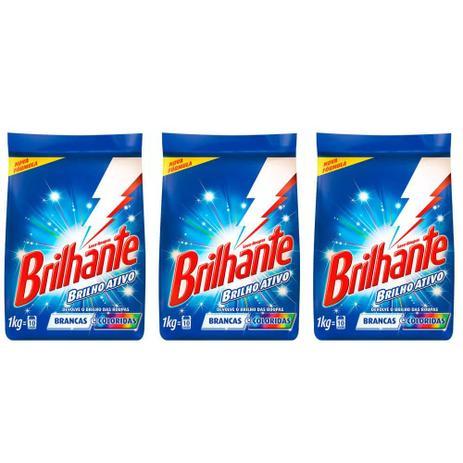 Imagem de Brilhante Multi Tecidos Detergente Em Pó 1kg (Kit C/03)