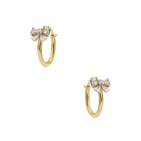 Brinco de Ouro 18k Argola Lacinho Rodinado com Diamantes br22427 - Joiasgold e906377ee4