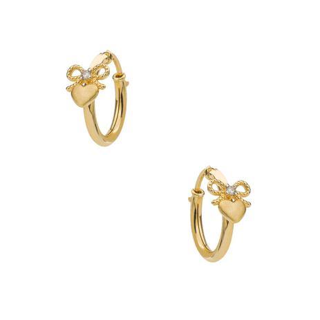 d453fe7f790bf Brinco de Ouro 18k Argola Laço com Coração Fosco e 2 Diamantes br22426 -  Joiasgold