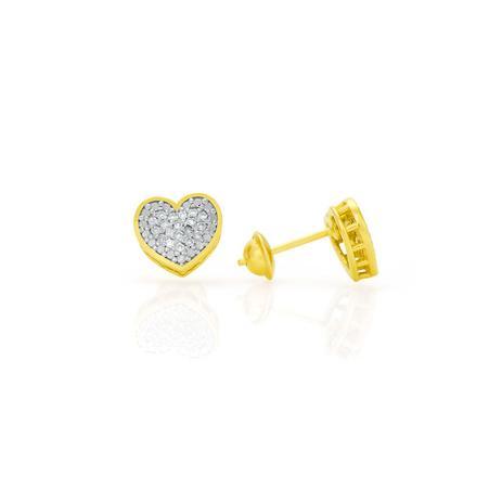 Brinco de Ouro 18k Chuveiro Formato Coração com 38 Diamantes br21158 -  Joiasgold 1e62fe4a44